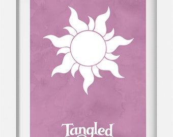 Tangled Disney Rapunzel Sun Lantern Minimalistic Art Design A4 Poster
