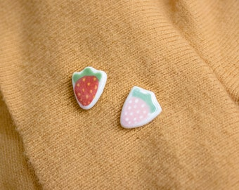 ceramic pastel strawberry pin, strawberry brooch, miniature food, fruit lover jewelry, lapel pin, kawaii pastel pink strawberry