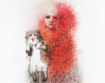 Original watercolor portrait of a girl with a cat. Red watercolor girl portrait. Cat watercolor painting. Cat illustration. Cat art
