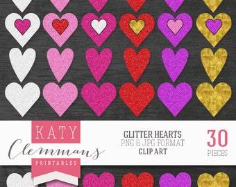 GLITTER HEARTS digital clip art pack. Printable textured heart illustrations, metallic effect, scrapbook art - instant download.