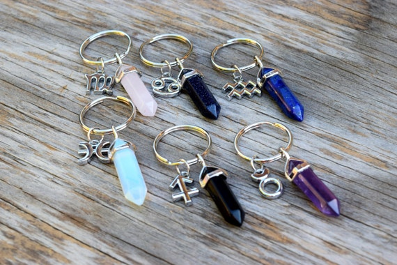 Crystal Keychain, Zodiac Keychain, February Birthday Gift, Boho Key Chain, Rose Quartz Key Ring, Amethyst, Opalite, Libra Crystal Point Wand