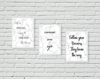 Stairs Wall Art, Marble, Wall Prints for stairs, set of 3, typography, wall art, wall prints, home decor, house decor, quotes, inspirational