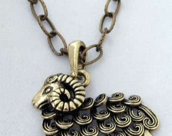 Sheep necklace ( Antique Gold Plated ) with Bronze Chain  X 1