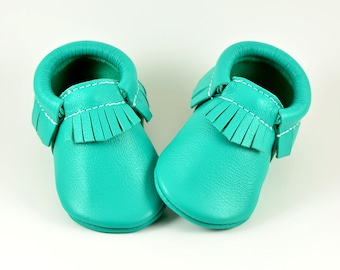 Emerald Teal Green Baby Moccasins Handmade Moccs Genuine Leather Soft Soled Shoes Infants Toddlers Girls Boys Prewalker Booties