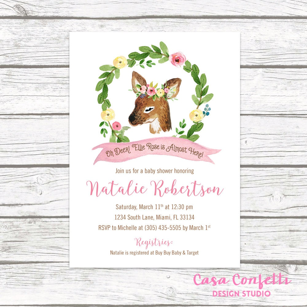 Deer Baby Shower Invitation Woodland Baby Shower Invitation Girl