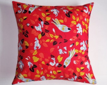 Throw Pillow Cover, Marcelinne Bird Throw Pillow Cover, Handmade Red Floral Bird Cushion Cover, Spring Bird in Red Accent Pillow Cover