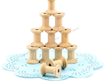 """25 - Small Wooden Spools - 1-1/8"""" x 7/8"""" - Hourglass shape Unfinished Wood Craft Supply - Twine Tape Thread Storage"""