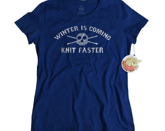 Gift for Mom for - Knitting Shirt - Gift for Her - Knit Faster Funny Tshirt for Women