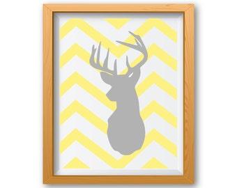 Grey and Yellow Wall Art, Grey and Yellow Prints, Deer Head, Deer Print, Yellow and Grey Wall Decor, Yellow and Gray Wall Art, Deer Wall Art
