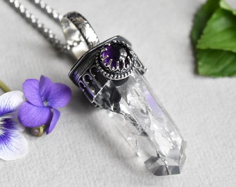 Sterling Silver Quartz Crystal and Amethyst Necklace