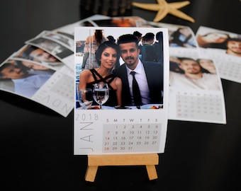 Personalized Calendar with Desk Easel 12 pcs. Real Photo Paper 9x13cm (3,5''x5'') + 1 pc. %100 Beechen Wood Handmade Mini Easel