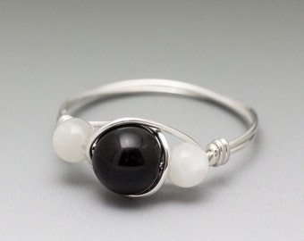 Black Schorl Tourmaline & Moonstone Sterling Silver Wire Wrapped Bead Ring - Made to Order, Ships Fast!