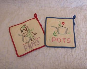 Set of Vintage Pot Holders Hand Stitched