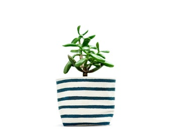 Blue Stripe Canvas Planter, Medium Size, Navy Blue and White Blockprint Canvas Bucket