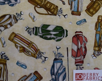 Golf Items from Tee'd Off  by Dan Morris Designs for Quilting Treasures.  JoBerry Fabrics,  Fabric by the Yard.