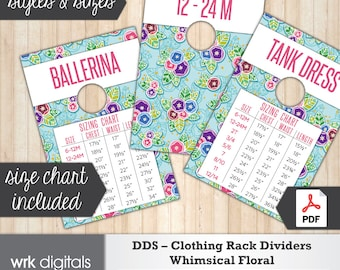 Dot Dot Smile Clothing Rack Dividers, Size Chart, Style Cards, Whimsical Floral Design, Fashion Consultant, Direct Sales, INSTANT DOWNLOAD
