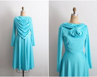 70s Turquoise Long Sleeve Dress / Vintage Dress / 70s Dress / Cowl Neck Dress / Size M/L