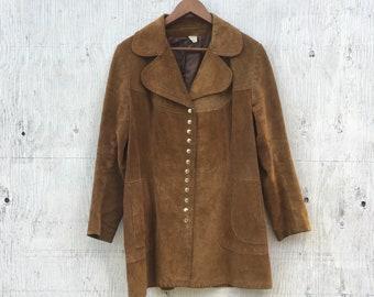 Vintage 70s Suede Jacket - Womens Leather Jacket - Brown Suede Boho Bohemian Jacket - 1970s Leather Coat - Mod Jacket - 70s Collar Hippie