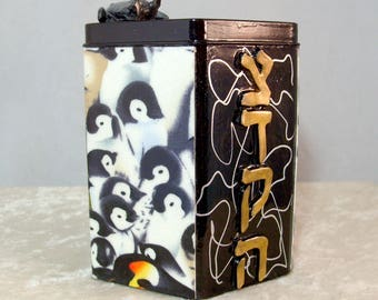 Decorative Tzedakah Box - March of the Penguins