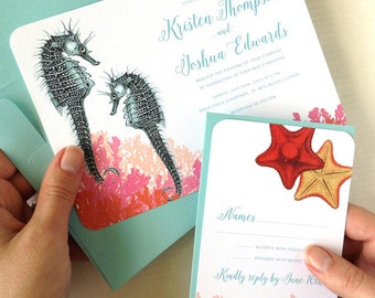 Seahorse Wedding Invitations for your Florida Beach Wedding