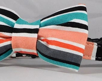 Cat Collar or Kitten Collar with Flower or Bow Tie - Barn Dance