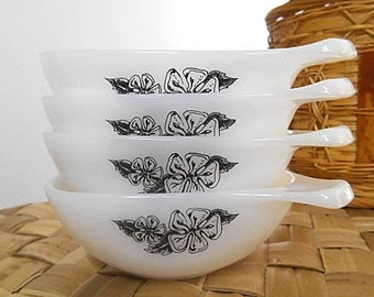"Vintage Agee Crown Pyrex Ramekins  -  1960s ""Tiki""  Set of Four"