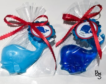 20 Whale Soap Favors, Baby Shower Favors, Nautical Themed Party, Navy Blue Whale