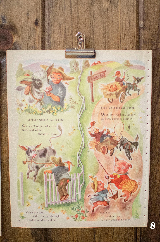 Vintage Nursery Rhyme print Distressed Nursery Paper for wall