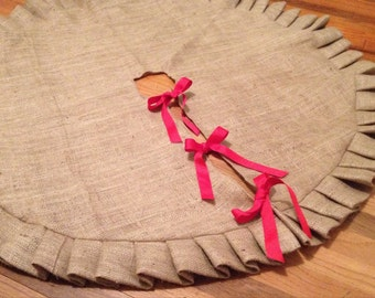"25"" Small Ruffled Burlap Christmas Tree Skirt"