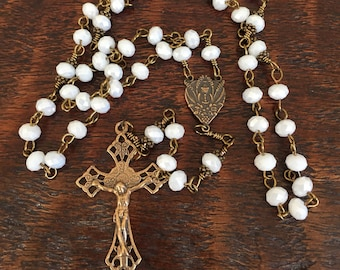 First Communion Bronze Catholic Rosary with Eucharistic Chalice as center and white faceted glass beads