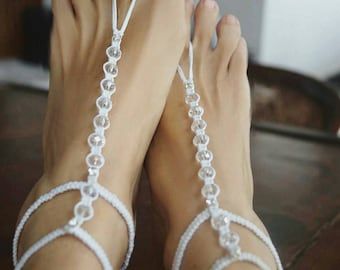 Crystal Wedding Barefoot Sandals, Gladiator Wedding Sandals, Bridal Jewelry, Beach Wedding Shoes