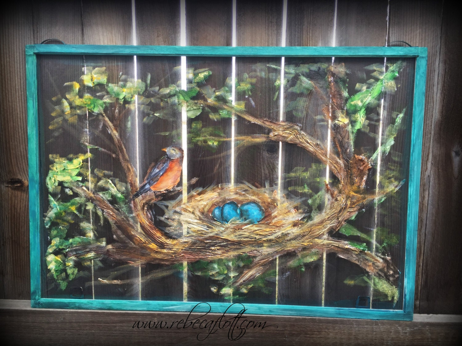 Old Recycle Window Screen Robin And Nest Paintings Spring
