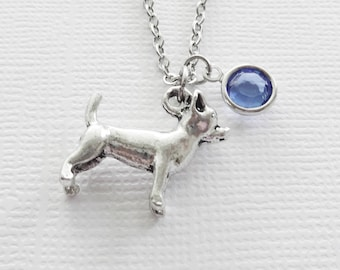 Chihuahua Dog Necklace 3D Small Dog Necklace AKC Breed Animal Friend Gift Birthday Gift Silver Jewelry Swarovski Channel Crystal Birthstone