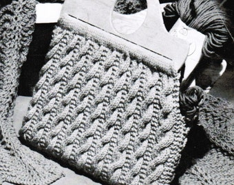 Cable Knitted Bag Pattern PDF / Knitted Purse Pattern / Cabled knitted purse pattern