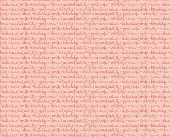 Heart & Soul Values Words in Coral by Deena Rutter for Riley Blake Designs