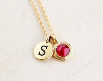 New Mom Gift - Initial Necklace - Initial Charm - Custom Birthstone Jewelry - Personalized Birthstone Necklace - Monogram - Birthday Gift