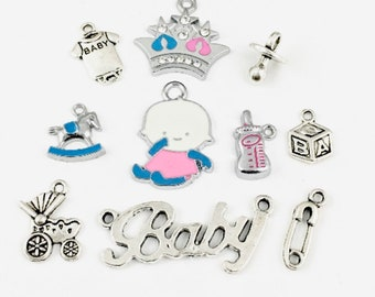 10 baby charms collection antique silver   #ENS A 160