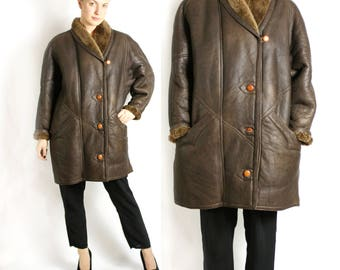 Vintage 80's 90's Genuine Sheepskin Shearling Jacket Coat Choclate Brown Leather