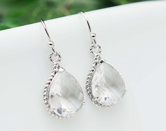 Bridal Jewelry Wedding Jewelry Bridal Earrings Bridesmaid Earrings Clear Glass Matte rodium Trimmed Pear Cut Earrings