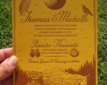 The Perfect Moonrise Kingdom Letterpress Wedding Invitation