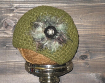 12 to 36 month Olive Green Crochet hat with flower