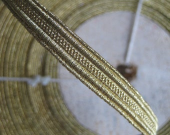 "1 yd Vintage Antique French Gold Metallic Trim 5/16""  Lampshade Pillow Military Lace"