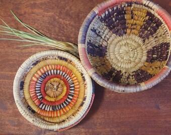 Native basket - woven basket - medicine basket - boho decor - ethnic basket - coil basket - lidded pot - vintage basket - woven box