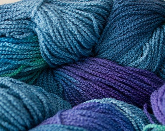 Little Cable, hand painted yarn, cotton, 225 yds - Deep Blues