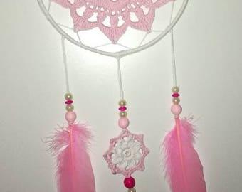 Dream crochet pink and white flower