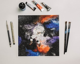 Cat in Space Watercolor Print