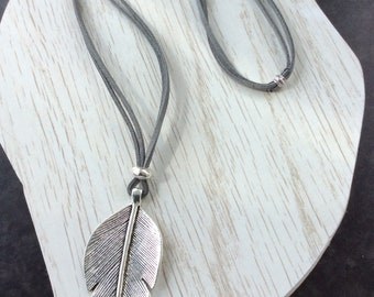 Large antique silver leaf pendant necklace on suede cord