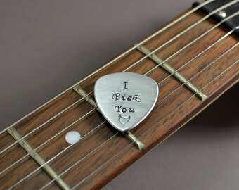 Small medium aluminum guitar pick with I pick you