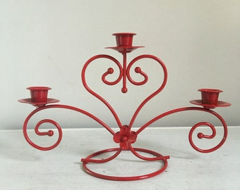 vintage home interiors, Metal Candle stick Holder, cherry Red Candle Stick Holder, Vintage Candle Holder / Red Candle Holder