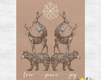love peace joy holiday cards / Rustic Christmas cards  / Woodland Christmas / Holiday card set / printed cards